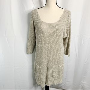 Free People M Knit Pocket Back Button Sweater